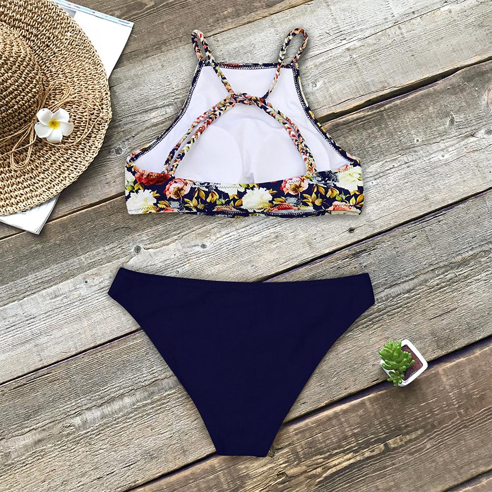 CUPSHE Floral And Navy Braided Strap Tank Bikini Sets Women High-neck Two Pieces Swimsuits 2019 Girl Beach Boho Bathing Suits