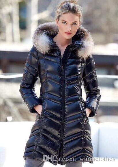 3d5e085eb 2019 Shiny Black Down Long Coats Women FULMAR Long Down Jacket Hooded With  Big Fur Winter Snow Coat Jackets