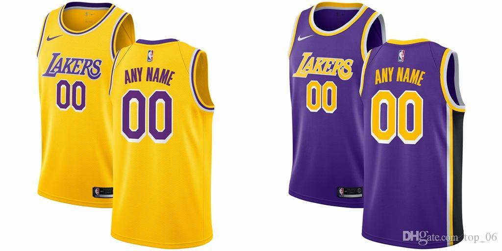 timeless design d6ade 8501f New Custom Los Angeles Men Laker Name And Number Jersey 23 James 2 Ball 0  Kuzma Jersey Golden Purple