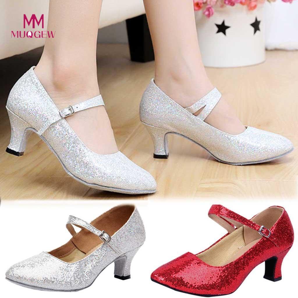 d569dc1c3845b Compre Vestido Muqgew Tacones Medio Altos Brillo Zapatos De Baile Mujeres  Salón De Baile Tanba Latina Tango Zapatos De Mujer De Talla Grande 35 ~ 41  Zapatos ...