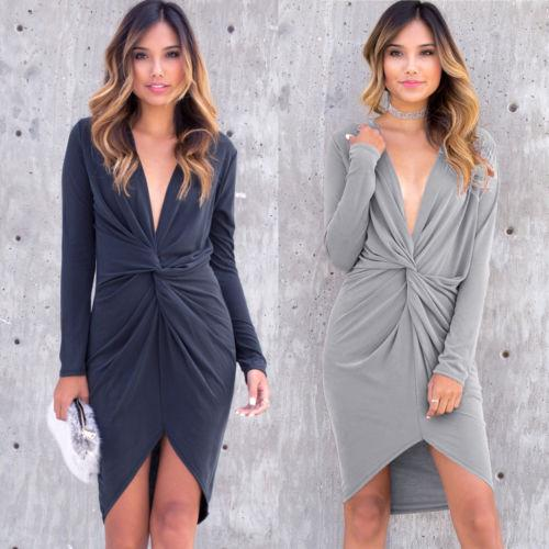 Women Irregular Dress Long Sleeve Loose Party Evening Solid About Knee V-Neck Mini Vestidos