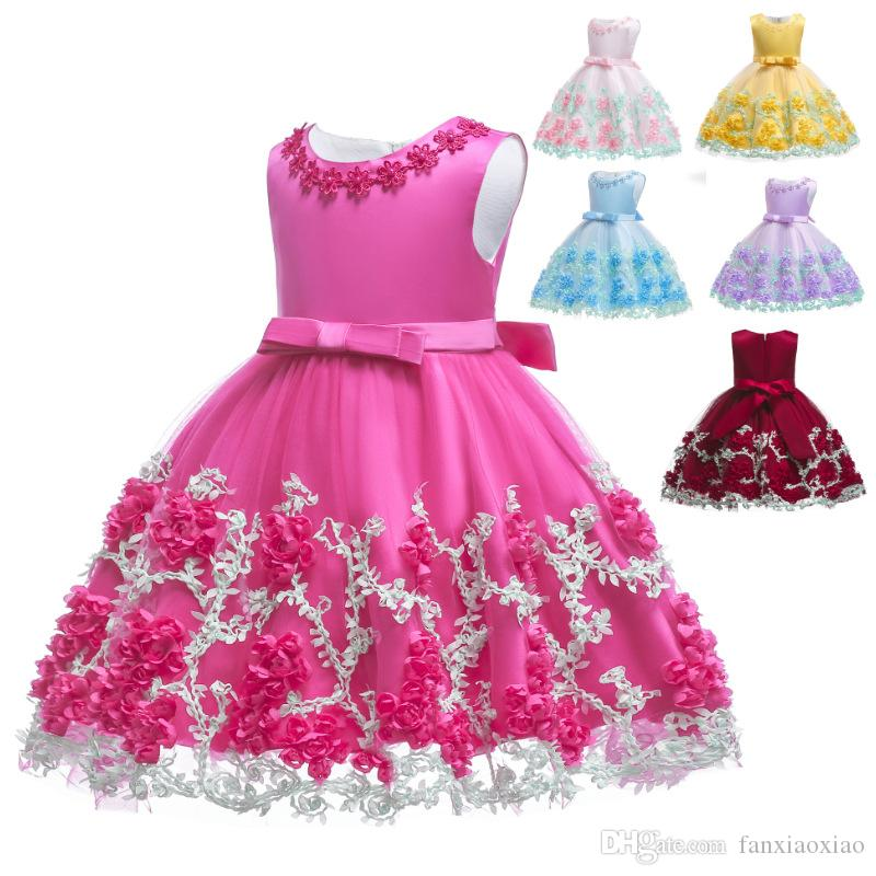 Flower Girls Lace Dress 2019 new 3-10 years old lace color matching girls princess dress tutu