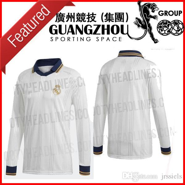new concept 7052d 31fe2 2019 REAL MADRID 19 20 ICON LONG SLEEVE RETRO JERSEY HOME - WHITE / GOLD  METALLIC 19-20 SOCCER JERSEYS BALE FOOTBALL SHIRTS