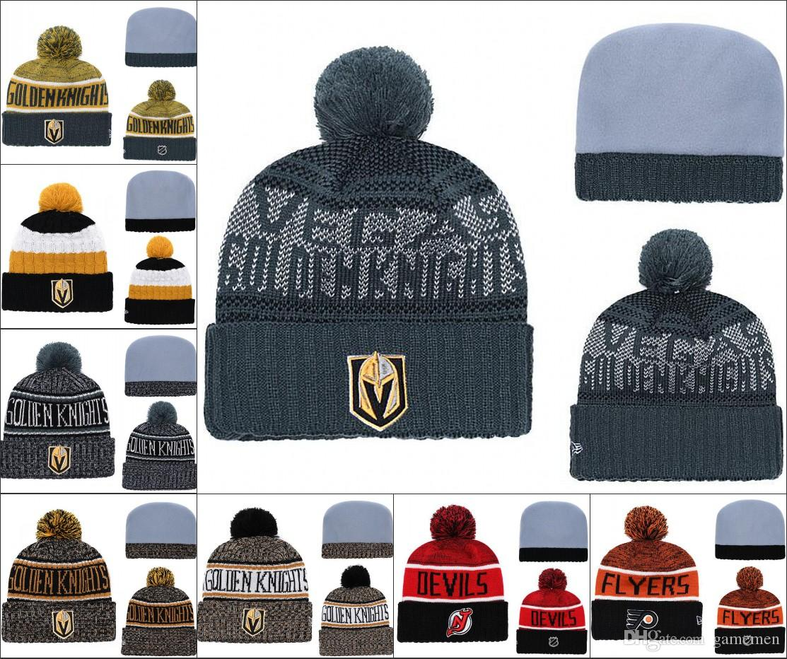7184b7992d91d9 Vegas Golden Knights Winter Beanie Hats Ice Hockey Knit Beanies Hat cap  Embroidered NEW JERSEY DVILS Stitched Hats One Size