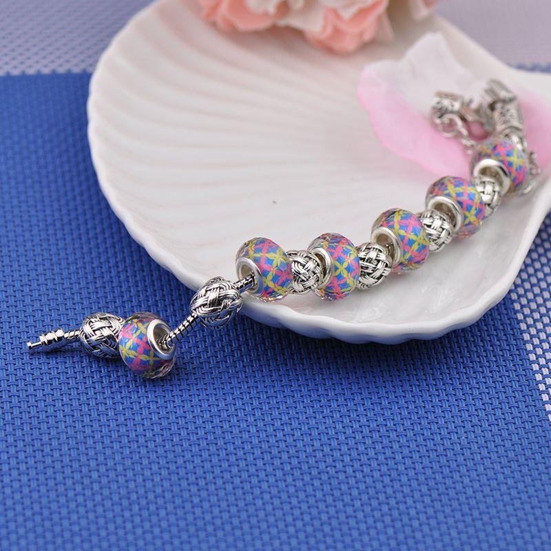 With Logo 925 Silver Charm Bracelets Women Designer Crystal Glasses Beads Pink Diamond Heart Key Pendant Fit Pandora Bangles P16