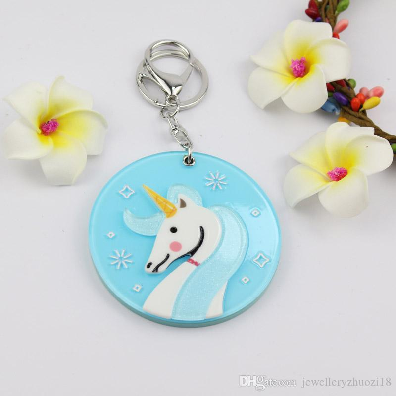 Unicorn mirror compact keychain hot welcomed design round shape key ring custome acrylic key charms promotion gift