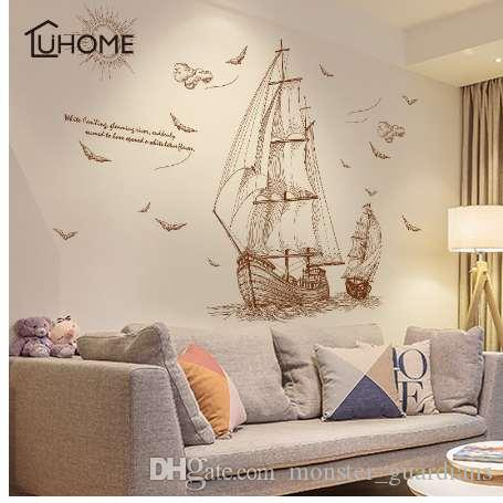 Diy Sailboat Voyage Seabirds Landscape Large Wall Stickers Home