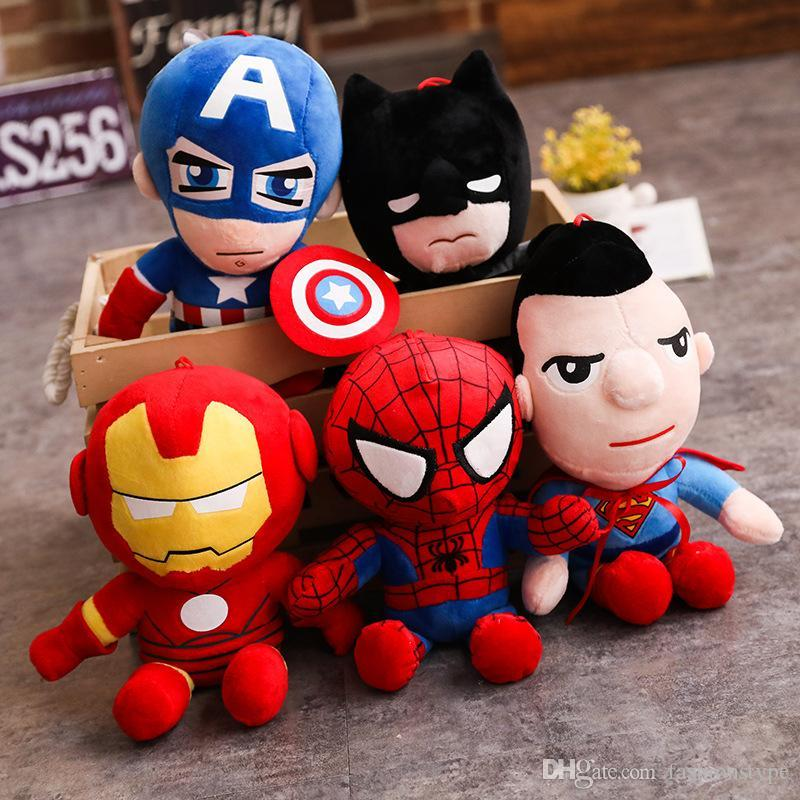 Hot Cute 28cm Q style Spider-man Captain America Stuffed toys Super hero plush soft The Avengers plush gifts kids toys Anime kaws toys