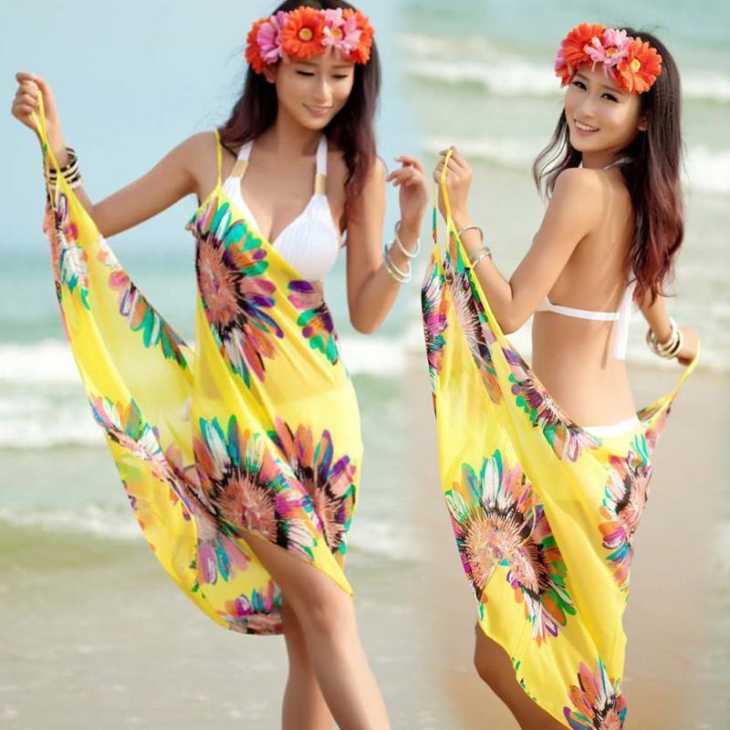 여성 비치 드레스 섹시한 슬링 비치웨어 원피스 Sarong Bikini Cover-ups 랩 파 레오 스커트 타월 오픈 백 수영복 # 10