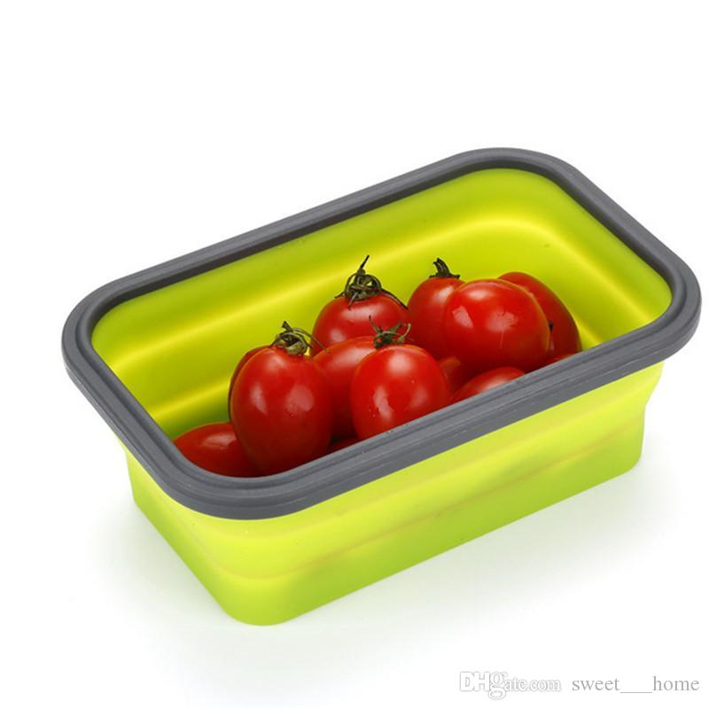 Hot Floding Lunch Boxes Food Grade Silicone Food Storage Containers