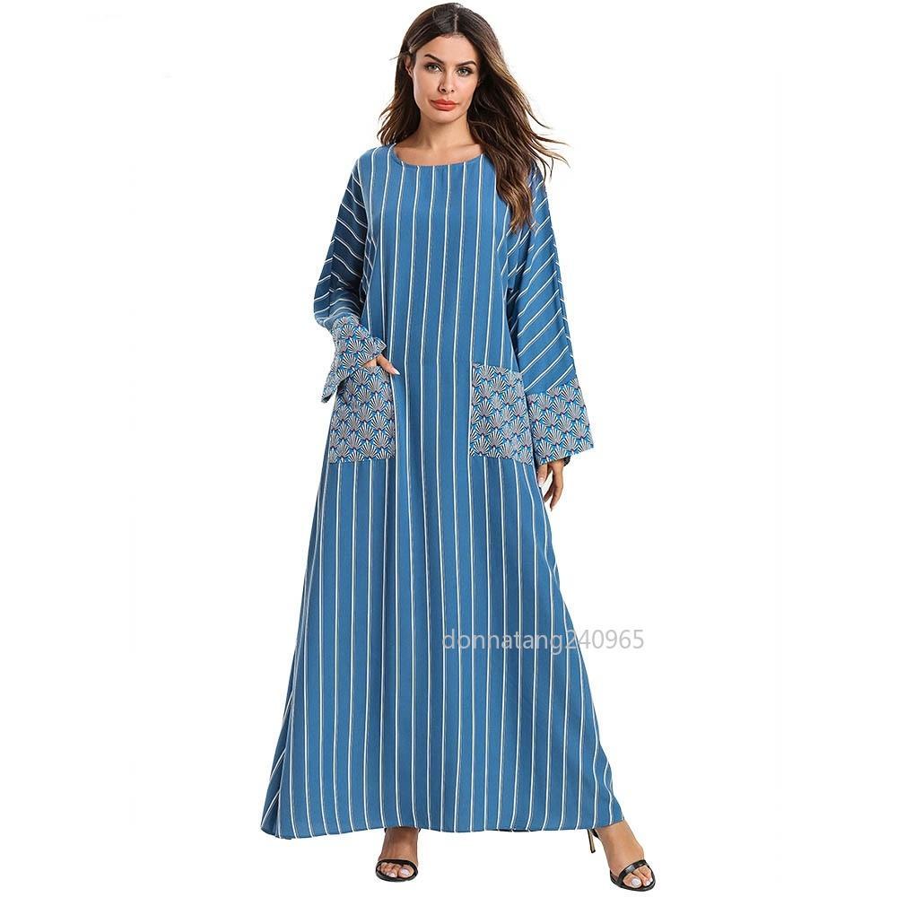 b9720b8baea4 Compre 7581 Mujeres Abaya Marroquí Turco Vestido Musulmán Casual ...