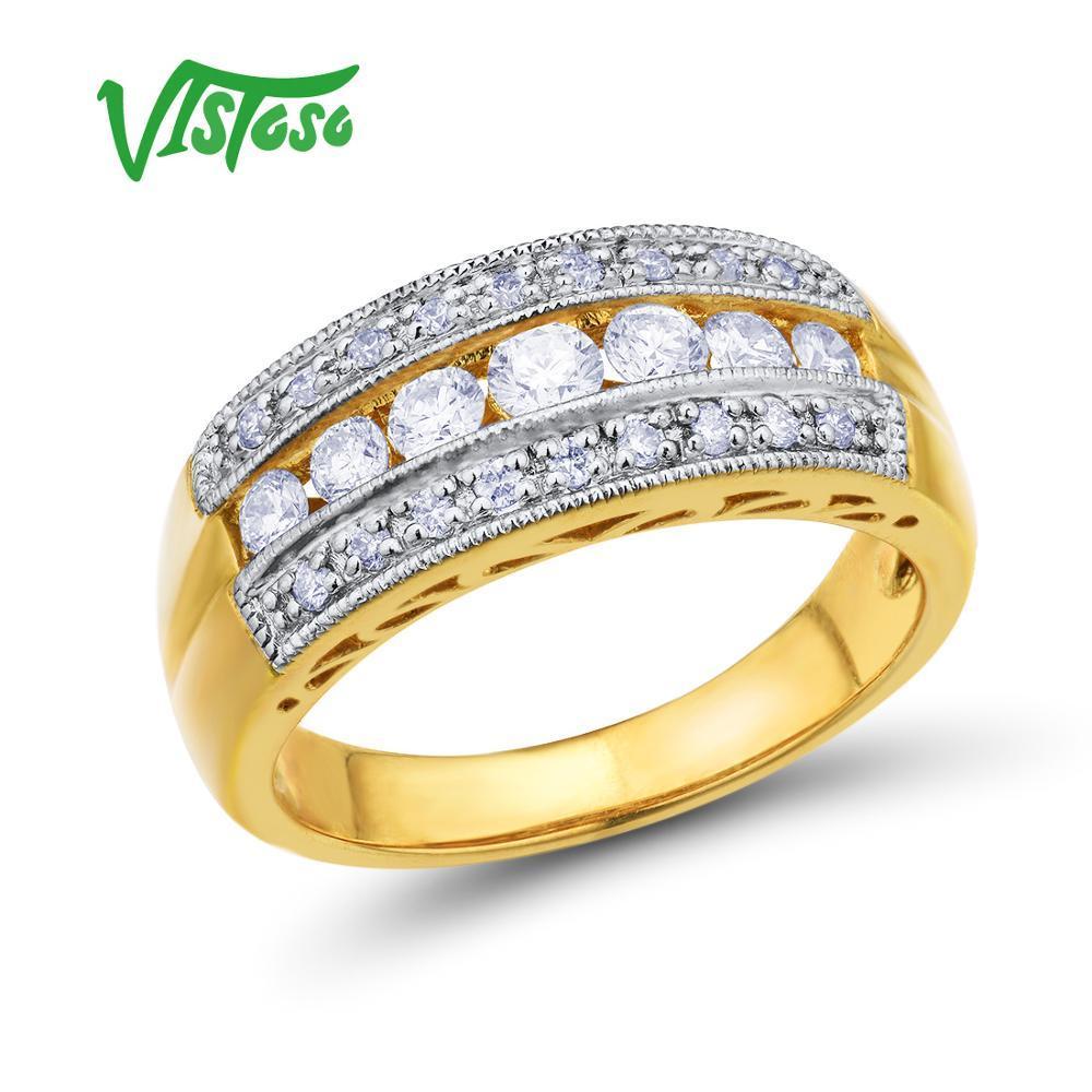9c6874c8ac4a Compre VISTOSO Anillos De Oro Para Mujeres Genuino 14 K 585 Anillo De Oro  Amarillo Brillante Diamante Compromiso De Lujo Banda De Boda Joyería Fina A  ...