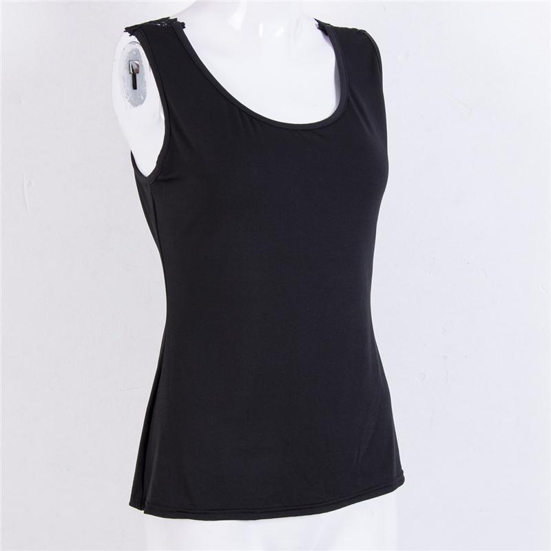 Женская сексуальная спинки жилет топ блузка без рукавов повседневный бак топы лето сексуальный кружево хлопок топы