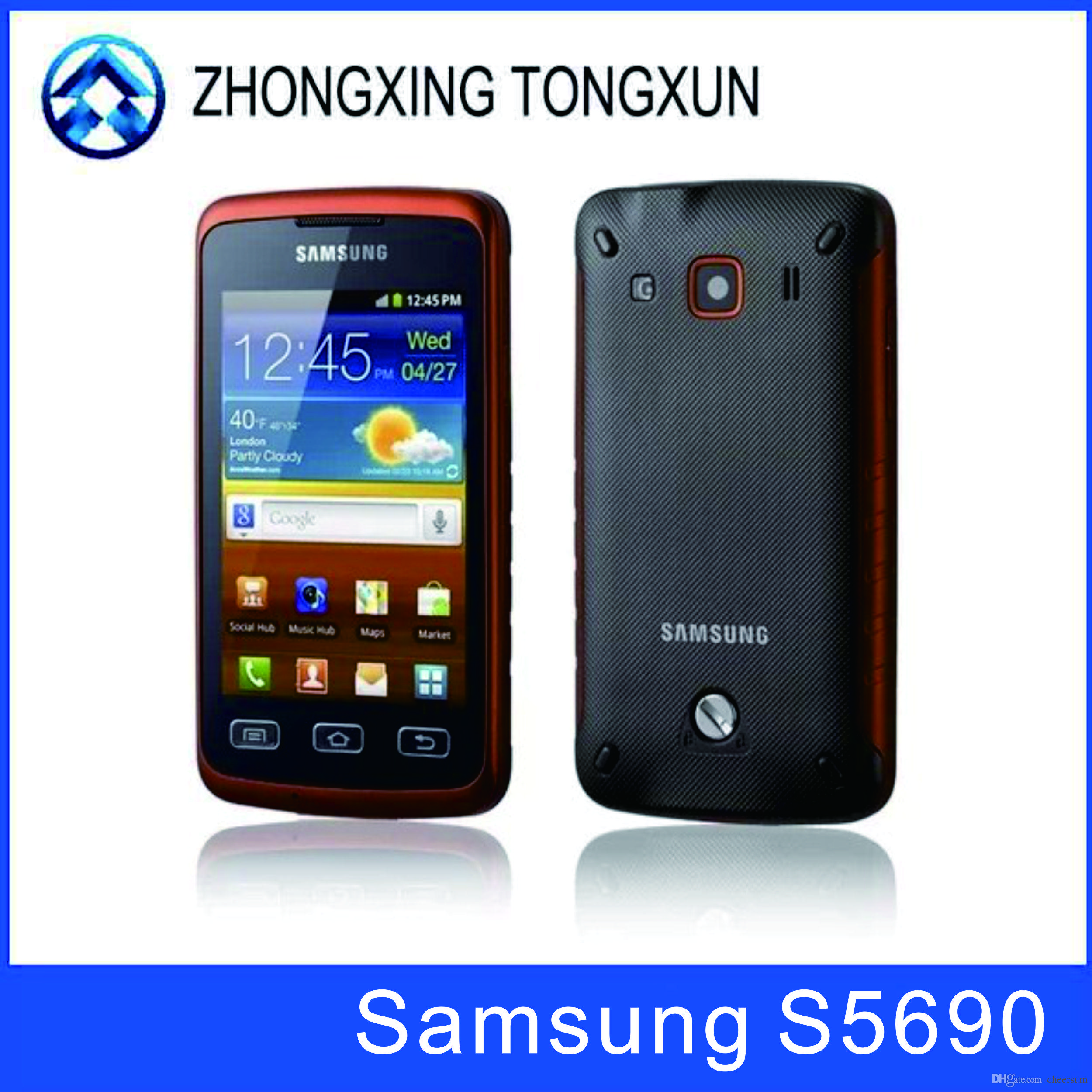 new style acd1a dc99d S5690 Original phone Samsung S5690 waterproof cell phones WIFI GPS 3.15MP  Camera Cheap android Smartphone Unlocked refurbished