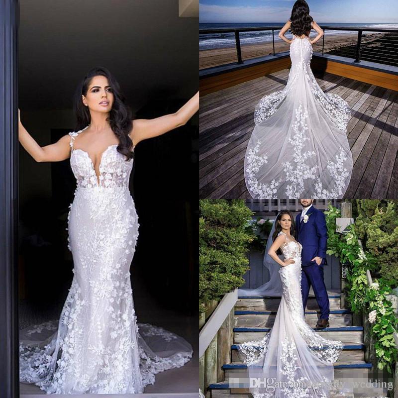 f3879613e682 Spaghetti Mermaid Wedding Dresses 2019 Sexy Plus Size Backless 3D ...