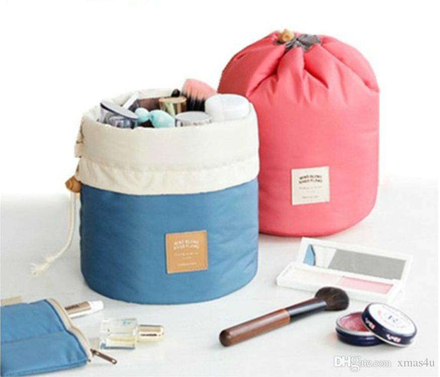 New Arrival Barrel Shaped Travel Cosmetic Bag Nylon Polyester Drawstring Elegant Drum Wash Bags Makeup Organizer Storage Bags DHL shipping