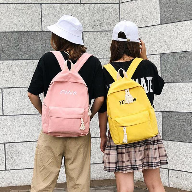 35d8616016ae Harajuku Women Canvas Backpack For Teenage Girls Fashion Female Korean  Student School Bags Pink Travel Bag Backpacks Cheap Backpacks 50pcs lot  Harajuku ...