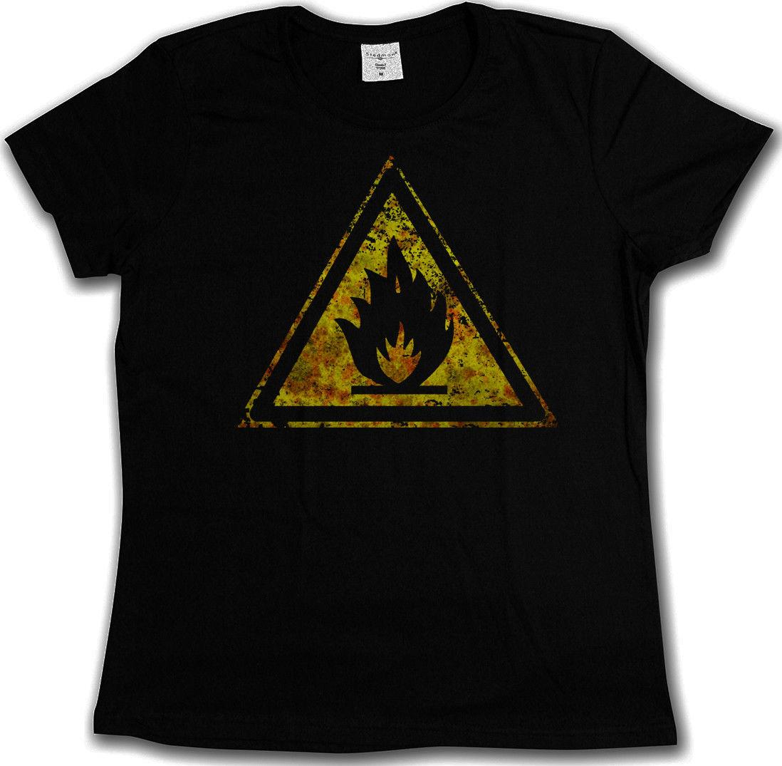 Caution Flammable Vintage Logo Sign T Shirt Fire Chemistry Teacher Warning