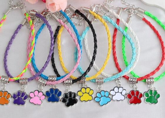 Vintage Silver Enamel Bear Cat Dog Paw Print Bracelets Charms Pendant weave Leather Braclets &Bangles Jewelry For Women Friendship Gift