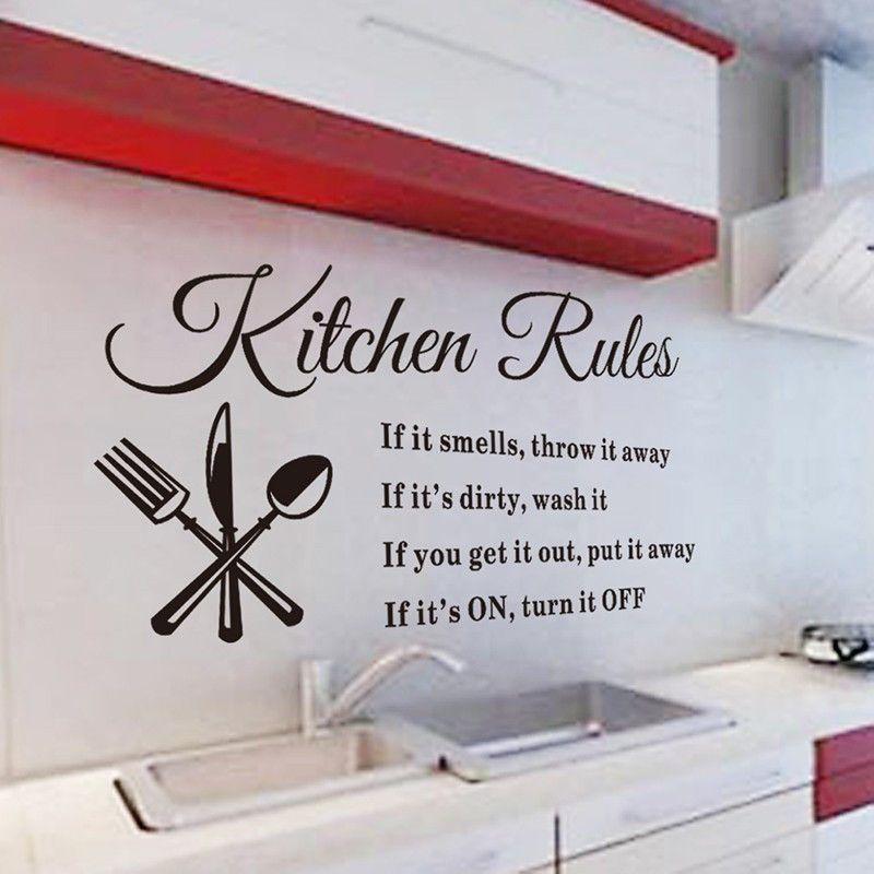 Acheter Règles De Cuisine Sticker Mural Décoration Lettres Amovible PVC  Stickers En Verre De Mur DIY Cuisine Home Decor 30CM X 58CM De $1.8 Du  Xumeng1688 ...
