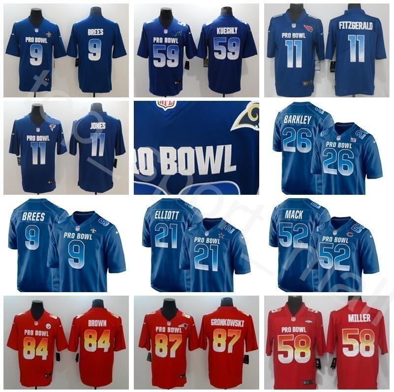 new product 3d591 e48b3 Pro Bowl Jersey 2019 NFC 26 Saquon Barkley 21 Ezekiel Elliott 59 Luke  Kuechly 11 Julio Jones Larry Fitzgerald 52 Khalil Mack Blue Football