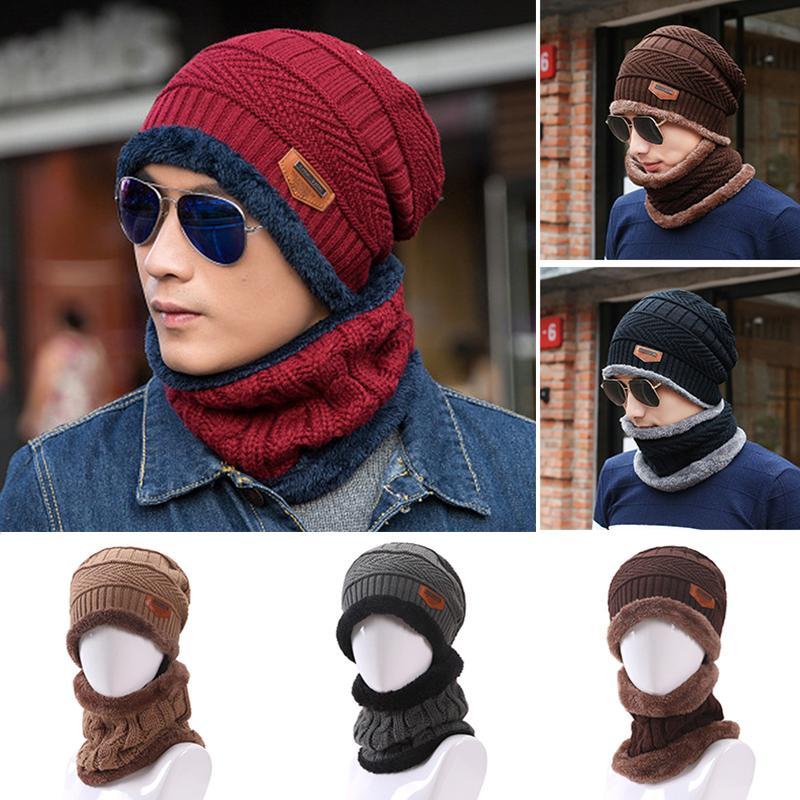 e562d2d8eb0 2019 2018 Men Women Winter Warm Knit Fleece Hat Scarf Wrap Winter Wool Blend  Ski Beanie Snow Caps Neck Warmer From Taihangshan