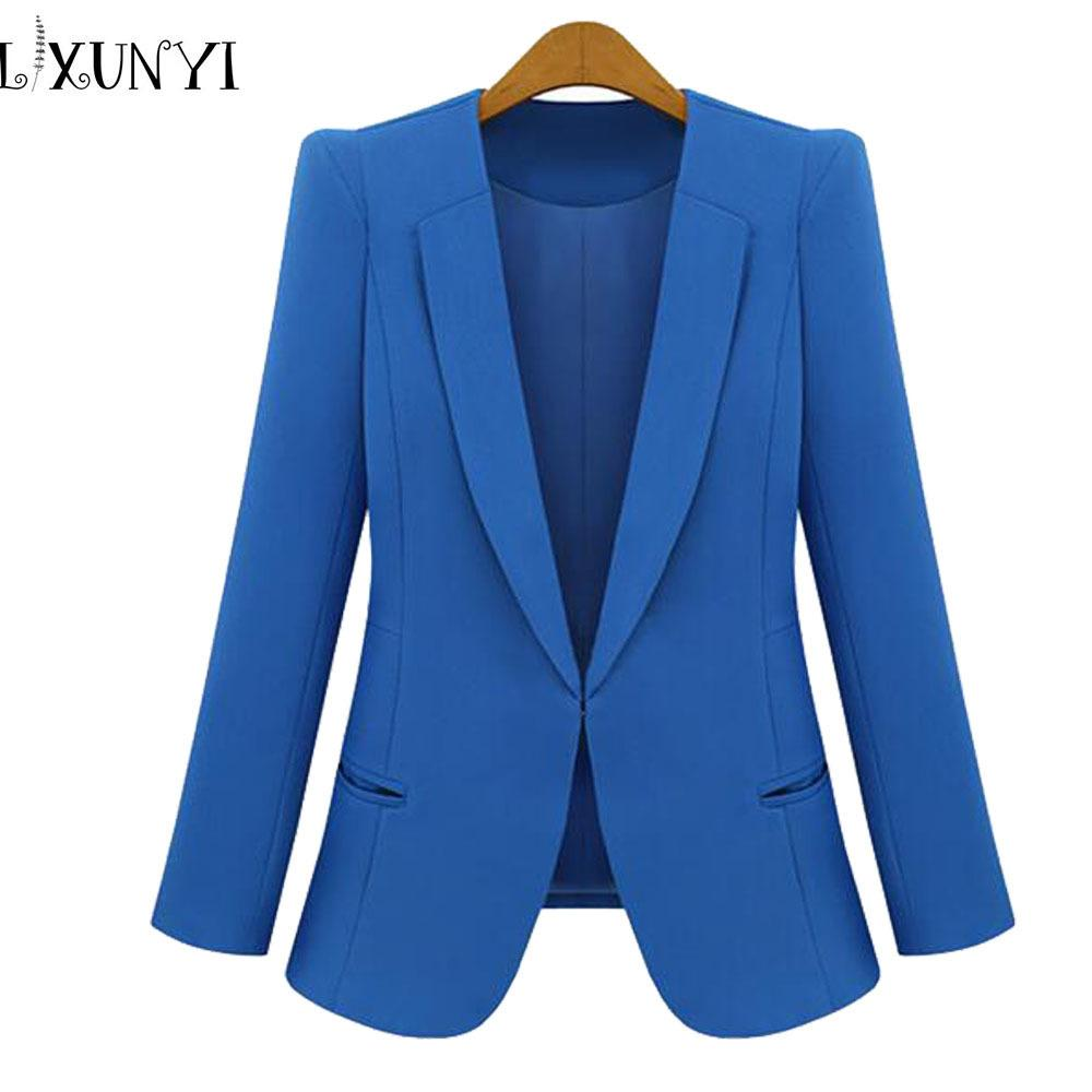 28e1407422 2019 New Spring 2018 Women Blazers Plus Size Fashion Female Slim Blazer Ol  Candy Color Suit Jacket Ladies Office Coat Maxi Size S 4xl Y18110701 From  ...