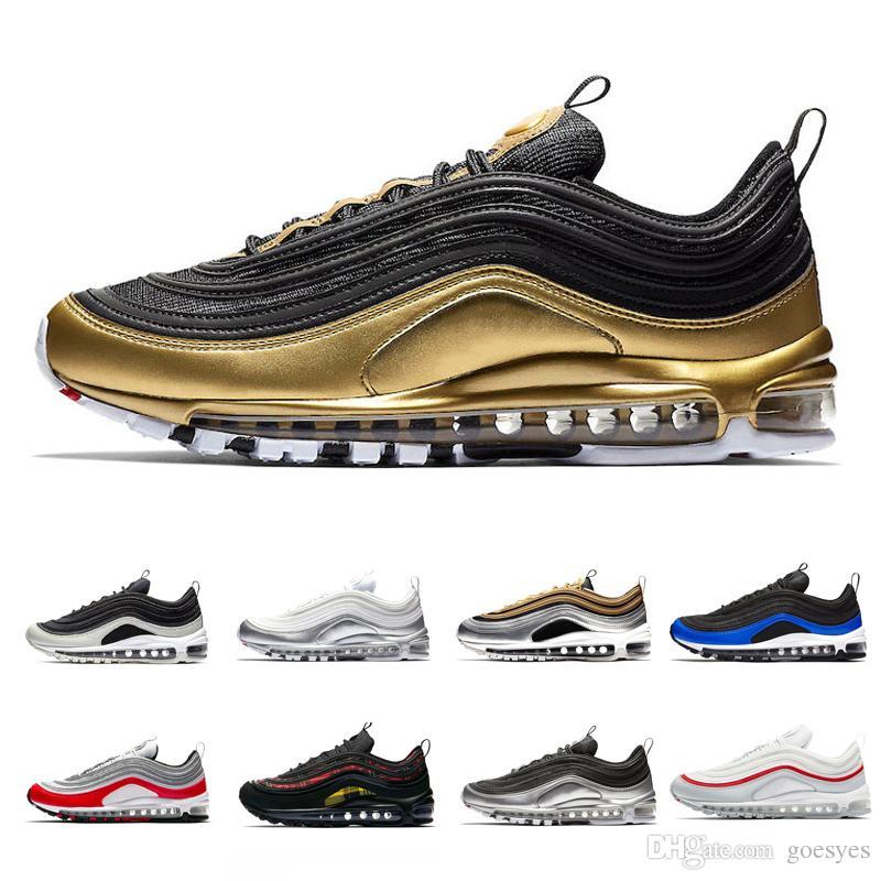 ce40d37500292 Nuevo Nike Air Max 97 QS Metallic Pack Zapatillas Para Hombre Mujer 97s  Zapatillas De Deporte De Diseño Para Hombre Zapatillas Plata Oro Negro  Blanco ...