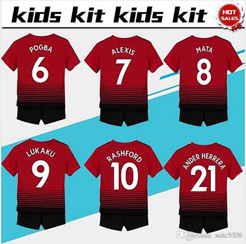 51610945b80  7 ALEXIS soccer Jersey Kids Kit 2018 19  6 POGBA home red Soccer Jerseys  Youth Sets  10 RASHFORD Child Soccer Shirts uniform jersey+shorts