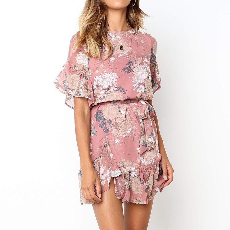 2020 Nouveau femmes Floral Mini robe à manches courtes O-cou Volants Mini robe de fleurs d'été Robes Casual Femme Taille Plus