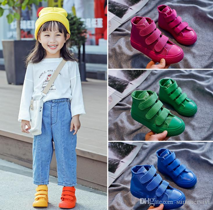 Fall new Kids sneakers girls candy color canvas casual shoes Boys breathable ankler runing shoes children non-slip outdoor shoes F9031