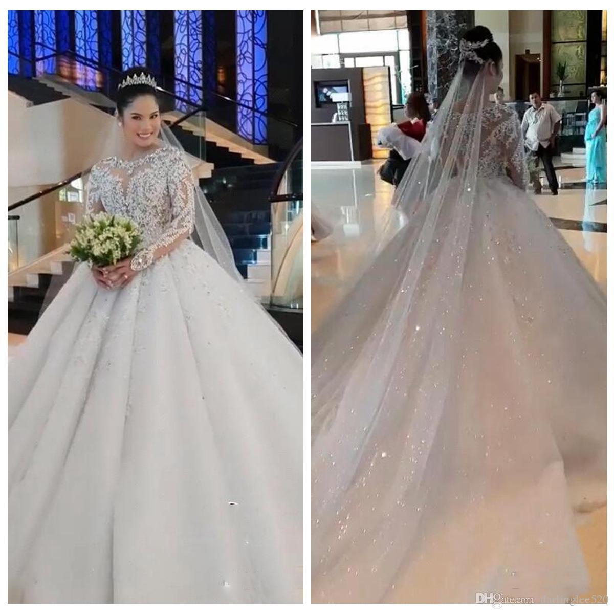 5d03d78aebaa7 Vestido De Novia 2019 Plus Size Ball Gown Wedding Dresses Crew Neck Illusion  Long Sleeve Satin Beads Sweep Train Vintage Luxury Bridal Gowns Corset For  ...