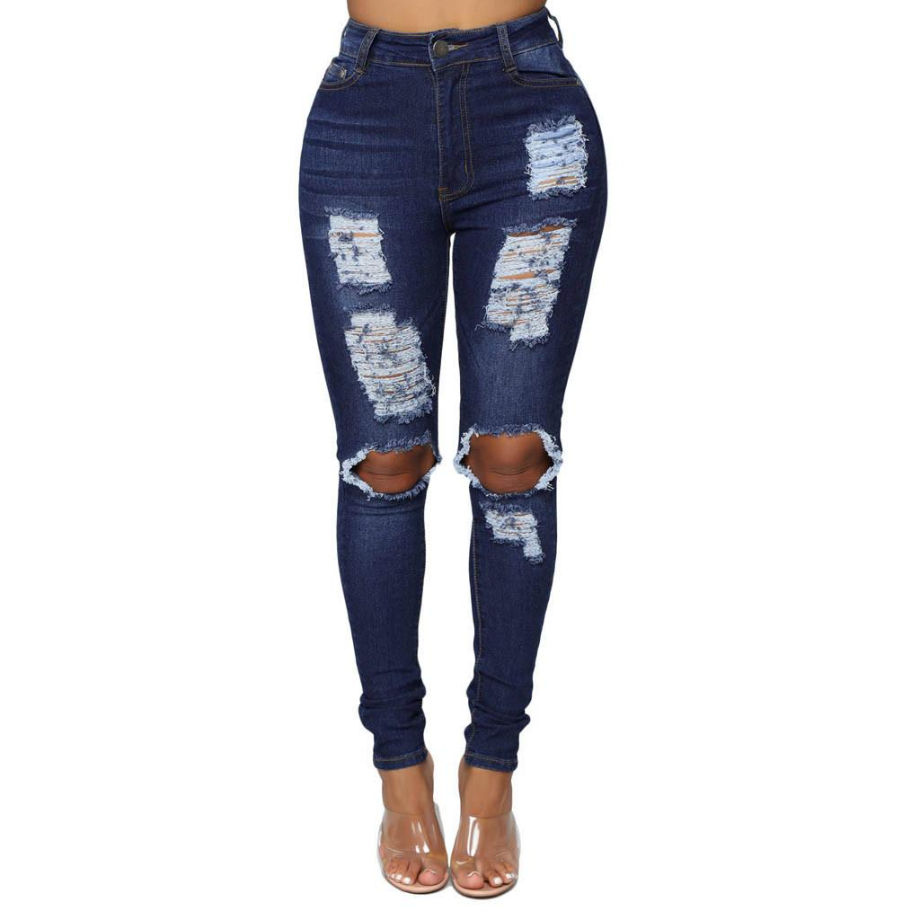 CHAMSGEND Fashion Women Jeans Denim Hole Female High Waist Stretch Slim Sexy Pencil Pants Summer Hollow Out Solid Pants Fe6