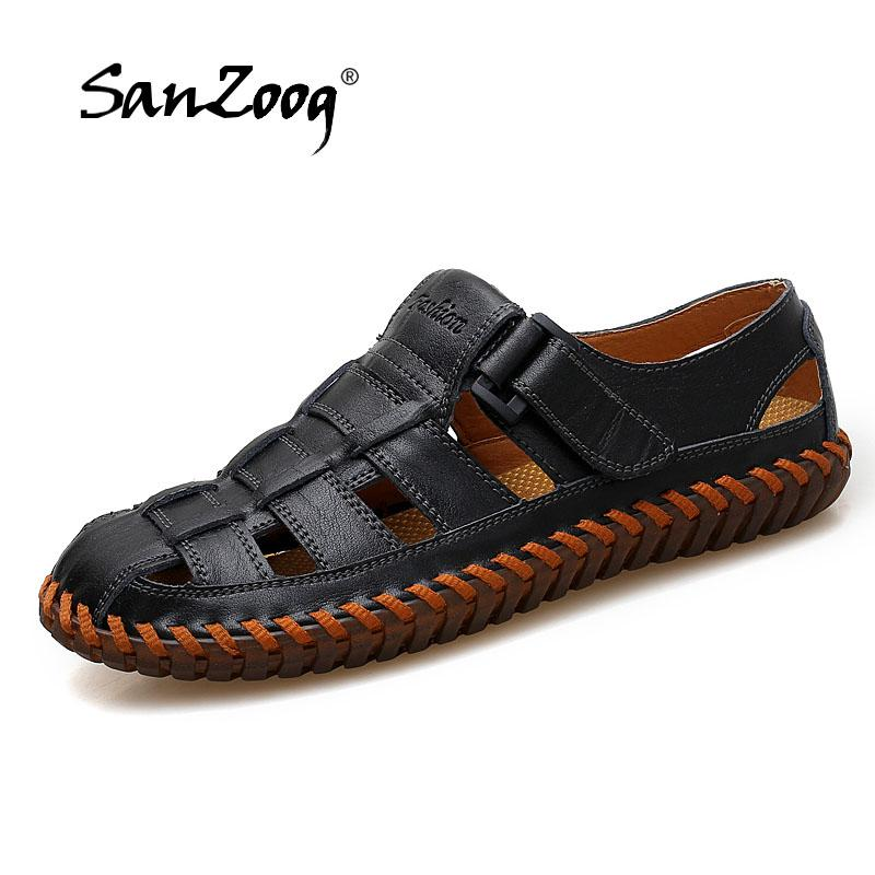 65be71e064cf9 New Sandals Men 2018 Summer Genuine Leather Solid Soft Breathable ...