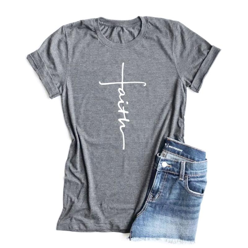 204e0ef8f Faith Tshirt Cross Jesus Tees Tops Christian Shirt Women Fashion Tshirt  Baptism Church Bride Squad Esthetic Tumblr T Shirts 3xl T Shirt 1 1 T Shirt  From ...
