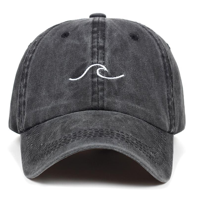 38bcf6ec20e4f Washed Wave Dad Hat For Women Cotton Embroidery Wavy Line Baseball Cap Men  Hip Hop Cap Snapback Hat Sea Sports Bone Garros Starter Cap Big Hats From  Turban