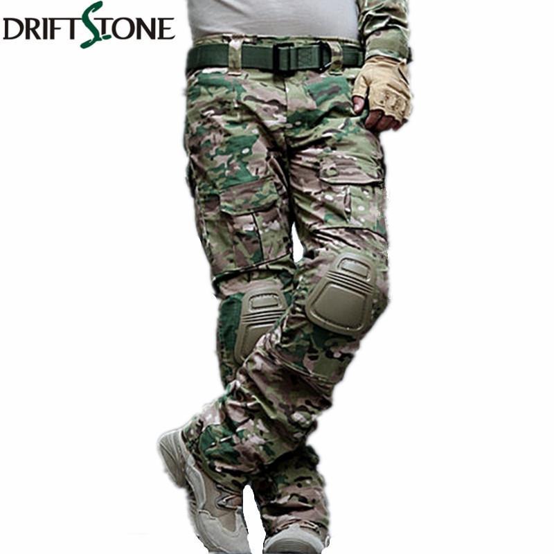 eddc3b6c5dc58 Camouflage Militaire Pantalon Tactique Armée Militaire Uniforme Pantalon  Airsoft Paintball Combat Pantalon Cargo Avec Genouillères Q190415