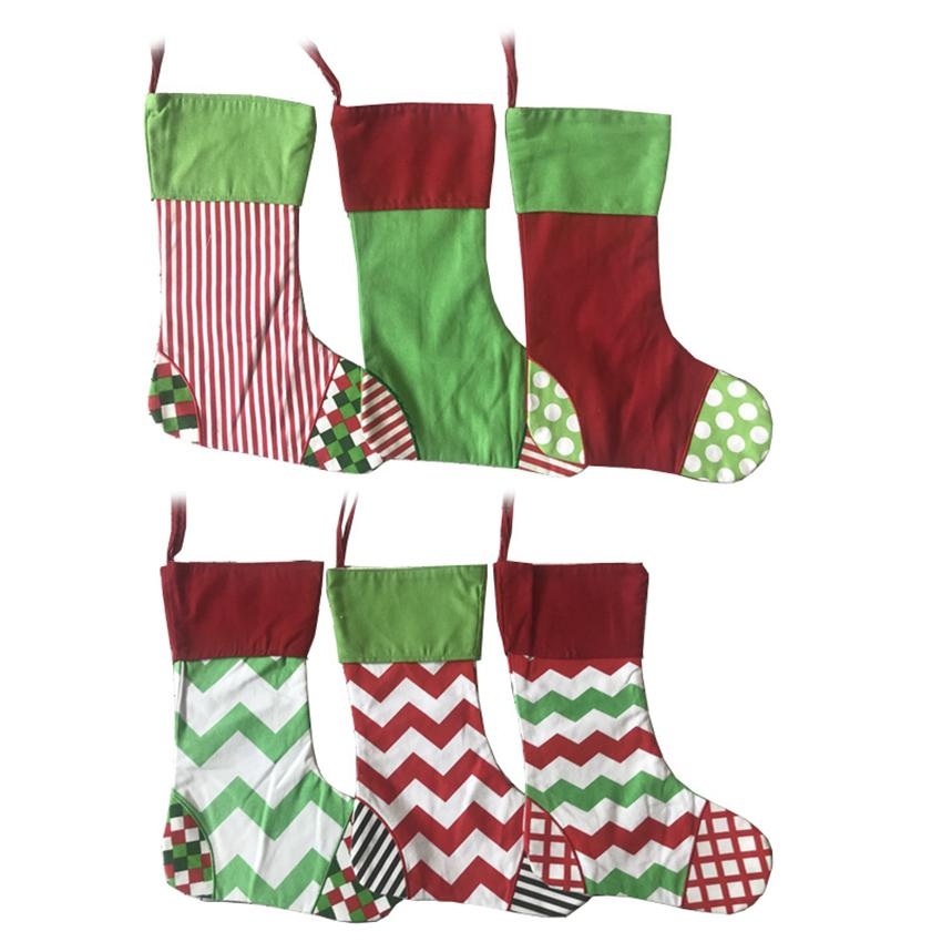 Canvas Christmas Sock 40*30cm 6 Colors Xmas Decoration Stocking Striped Decorative Socks Gift Candy Bag Party Decoration LJJO7163