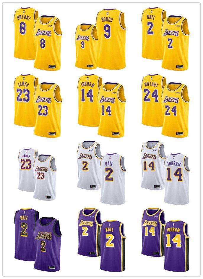 pretty nice 8482f c16f7 Men LeBron James Lonzo Ball Laker 2018/19 Kobe Bryant Jersey Kobe Bryant  Swingman Brandon Ingram Jersey Rajon Rondo Gold New
