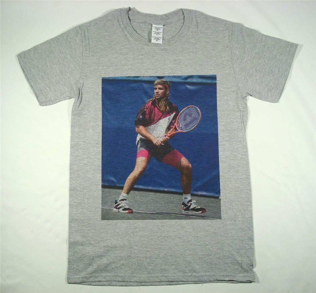 timeless design e55b7 94252 Andre Agassi Grey T Shirt Size S XXXL Tennis Vintage Retro Wimbledon Bjorn  Borgfear Cosplay Liverpoott Tshirt Mens Pride Dark T Shirt T Shirt With  Online ...