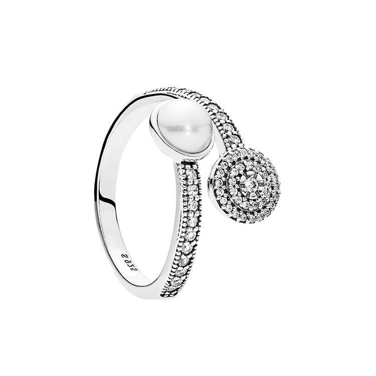 dd45b84375cd Compre Para Mujer Elegante Natural Perla Anillos De Boda Abiertos Con Caja  De Regalo Para Pandora 925 Plata Esterlina CZ Anillo De Diamante Conjunto A  ...