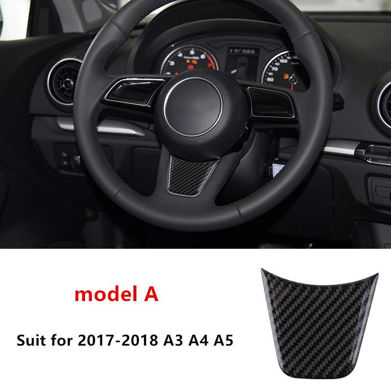 Carbon Fiber Steering Wheel Decal Decoration Cover Trim For Audi A1 A3 A4 A5 A6 A7 Q3 Q5 Car Styling Interior Accessories