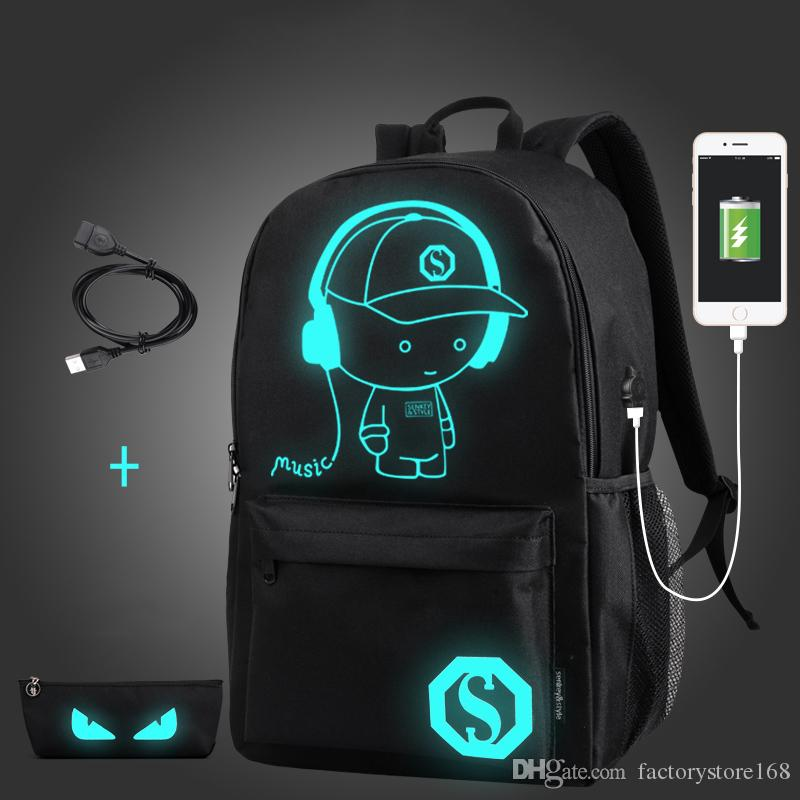 NEW Student School Backpack Anime Luminous USB Charge Laptop knapsack Computer Backpack For Teenager Anti-theft Boys Designer School Bag