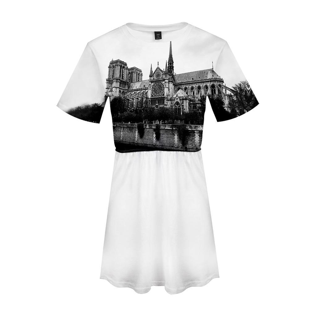 Notre Dame de Paris 3D Druckte Frauen Kleid Mode Sommer Kurzarm Kleider 2019 Heißer Verkauf Lässige Trendy Streetwear Kleidung
