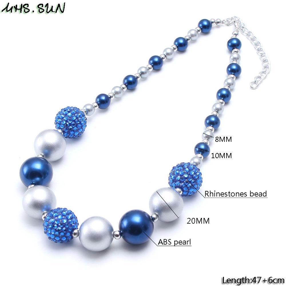 MHS.SUN 1 UNID Moda bebé azul + plata chunky collar moldeado niñas chicle gumball collar hecho a mano para niños regalo de cumpleaños