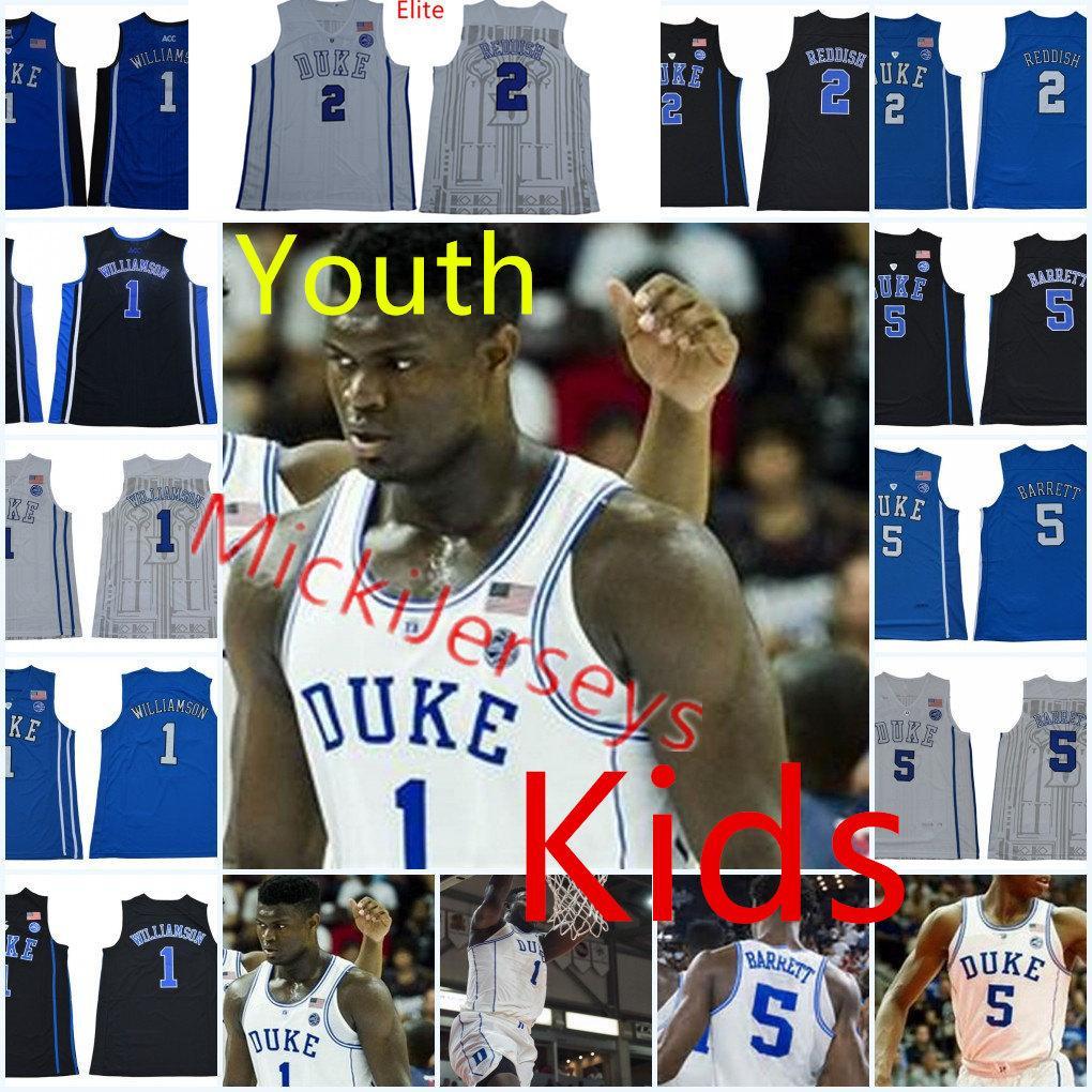 promo code cd72f 8b19d Youth NCAA Duke Blue Devils R. J. Barrett Basketball Jersey Kids #5 RJ.  Barrett #2 Cameron Reddish #1 Zion Williamson Duke Jerseys S-2X