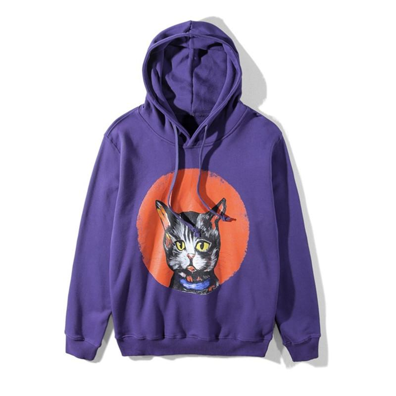 2018 Branded Hoodies for Women Cute Cartoon Cats Printed Purple ... 370669db7