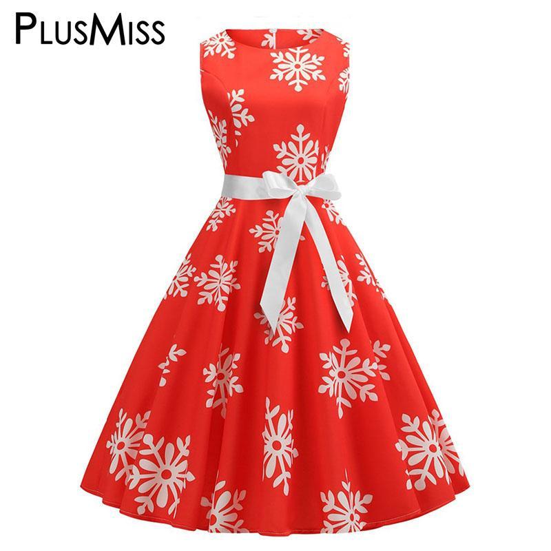 5fde9a852f474 PlusMiss Plus Size XXXXL XXXL XXL Christmas Snowflake Party Dresses Women  Big Size Sleeveless Tank Vintage Fit And Flare Dress Long Short Dress  Cocktail ...