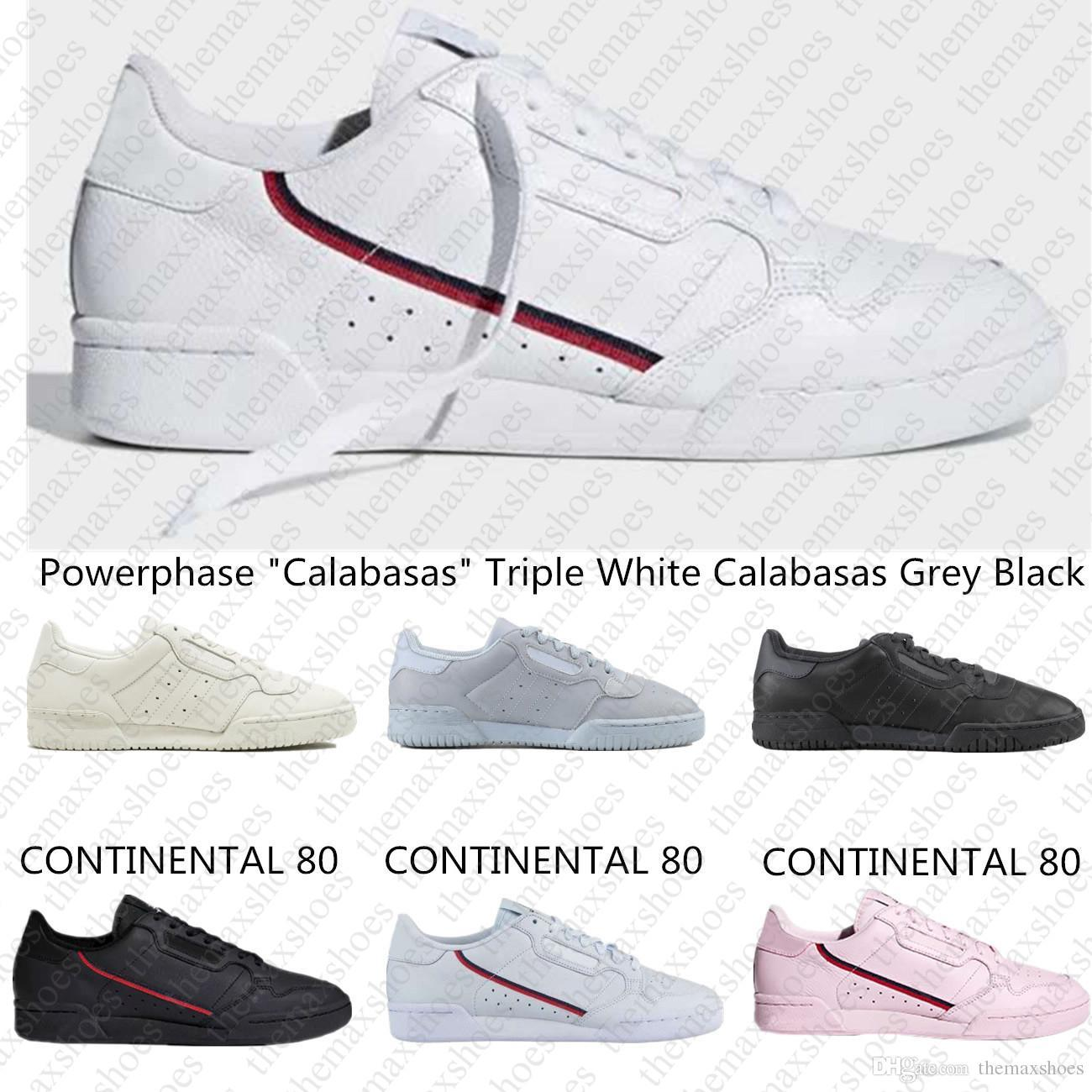 2019 Powerphase Calabasas Continental 80 Rascal Leather Kanye West Casual Shoes Grey OG Core Black Triple White Men Women Fashion Shoe 36-44