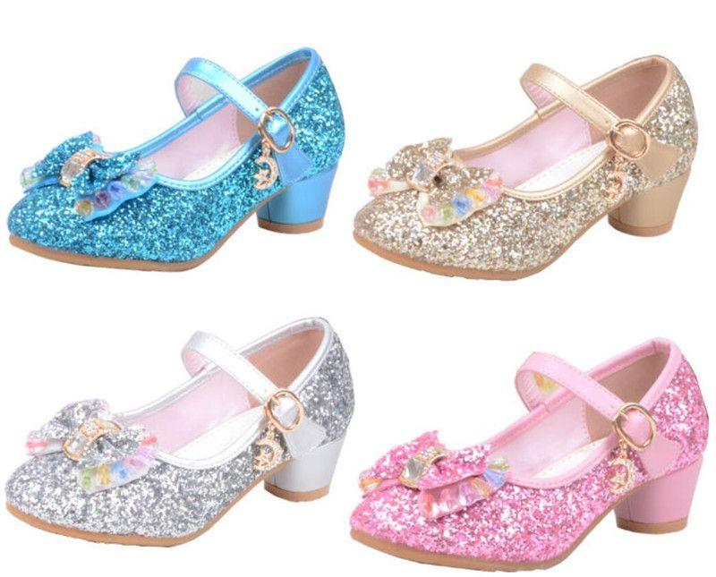 15ba28545dd Spring Summer Girls Glitter Shoes High Heel Bowknot Shoe for Children Party  Sequins Pink Blue Sandals Ankle Strap Princess Kids Shoes A42506